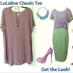 LuLaRoe Classic T 3X Tshirt Tee Purple Olive Green